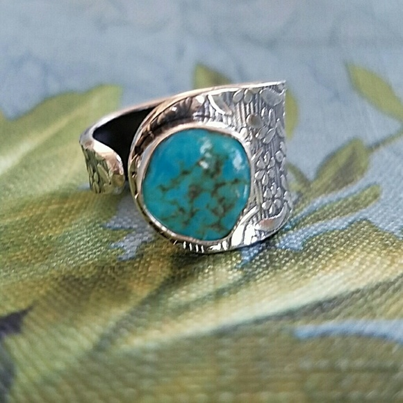 Earth Art hand crafted artisan Jewelry - Mojave Turquoise Nugget Ring Sterling Silver